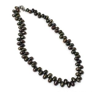 8 x 5 mm Black Freshwater Pearl Necklace